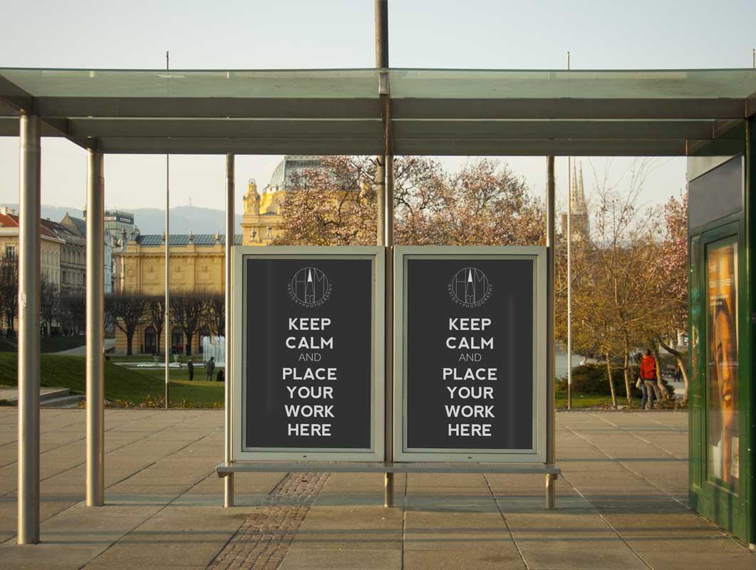 Double Poster Advertising PSD Mockup in Metropolitan Bus Stop Shelter Scene