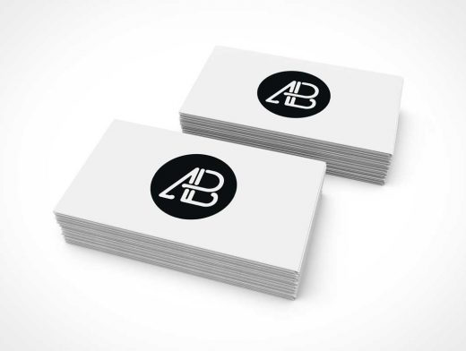 Double Stack Of Business Cards PSD Mockup