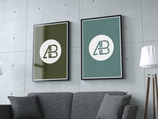 Dual Poster PSD Mockups Hung On Wall