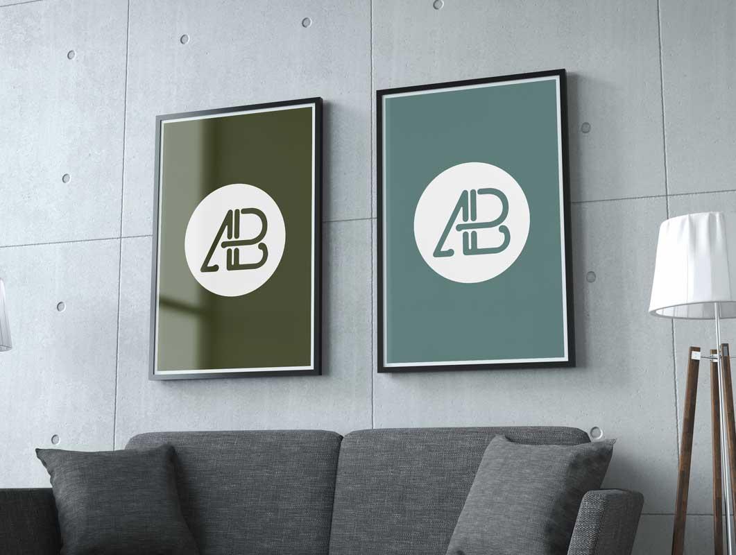Dual Poster PSD Mockups Hung On Wall