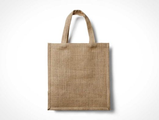 Eco Burlap Bag PSD Mockup With Handle
