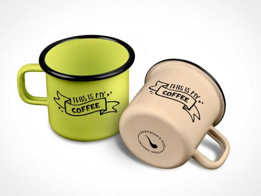 Enamel Mug PSD MockUp Shot From Above