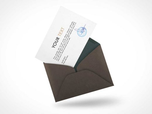 Floating RSVP Card PSD Mockup With Envelope