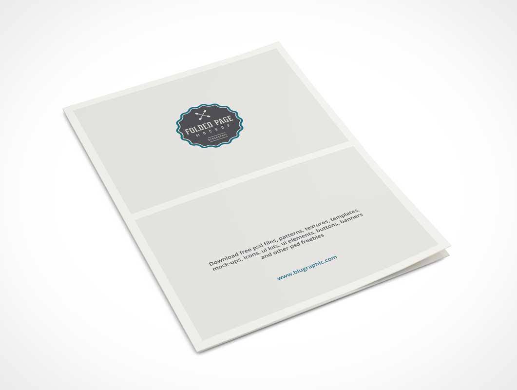 folded 2 page a4 psd mockup brochure psd mockups