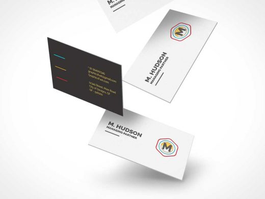 Free Falling Business Cards PSD Mockup