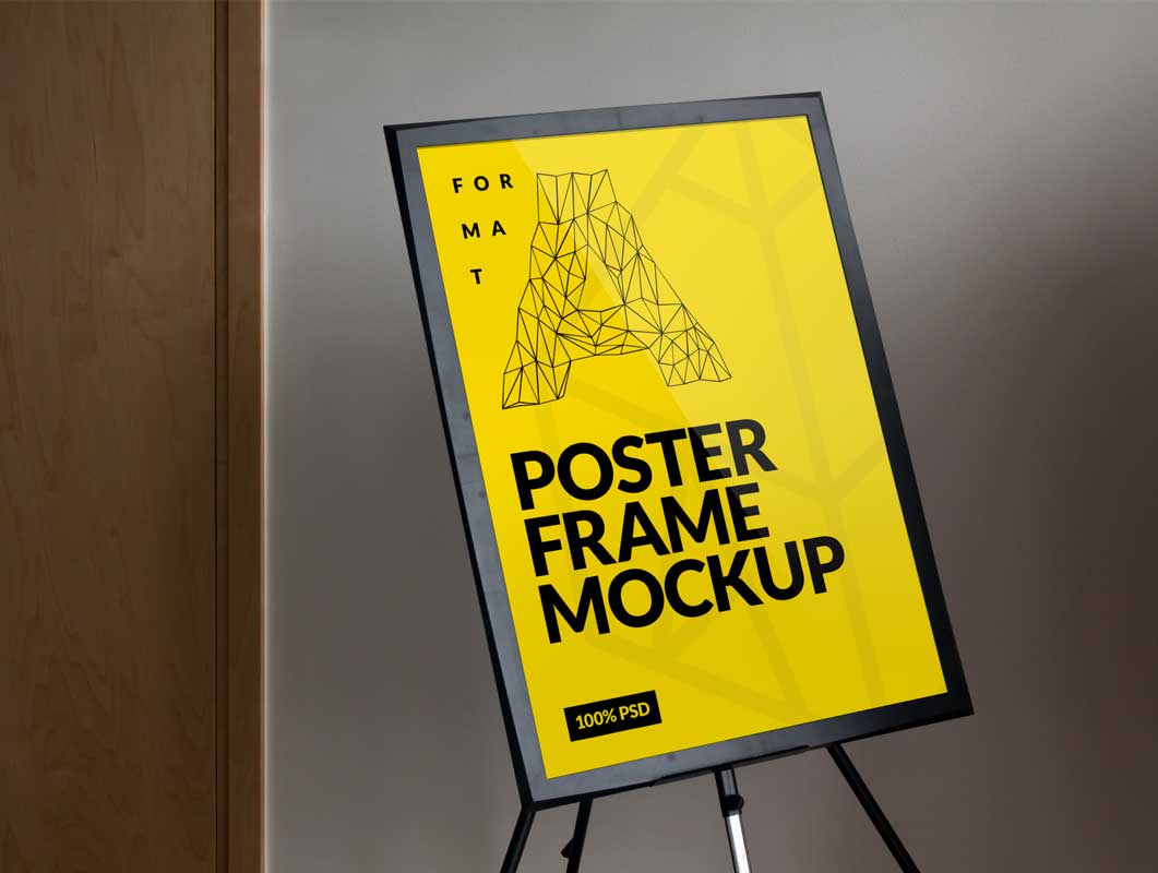 Free Frame Poster PSD Mockup on Light Tripod Stand
