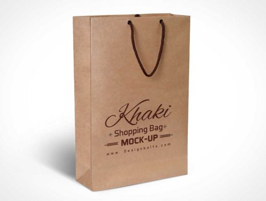 Free Khaki Brown Paper Shopping Bag PSD Mockup