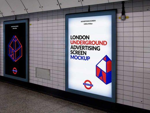 Free London Underground Ad Billboard PSD Mockup