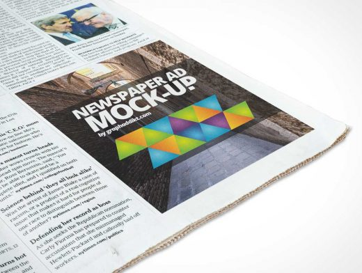 Free Newspaper PSD Mockup Corner Advert