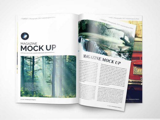 Free PSD Mockup Magazine Page Turn And Cover