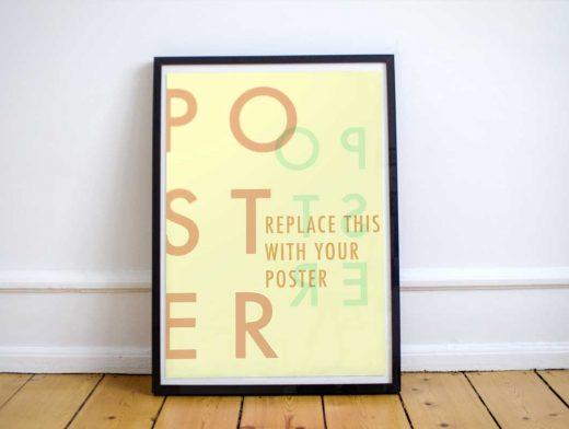 Free Poster PSD Mockup Loft Floor Scene