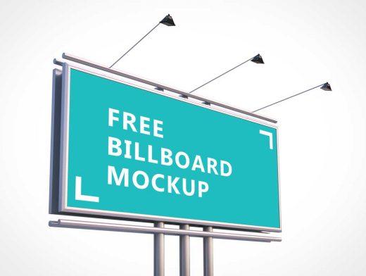 Free Roadside Billboard PSD Mockup With Spotlights