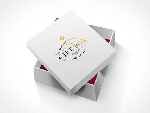 Free Square Gift Box PSD Mockup White Cardboard
