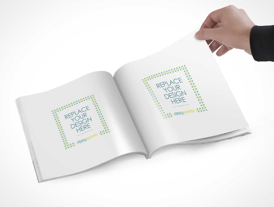 Free Square Magazine PSD Mockup With Customizable Inner Page Design