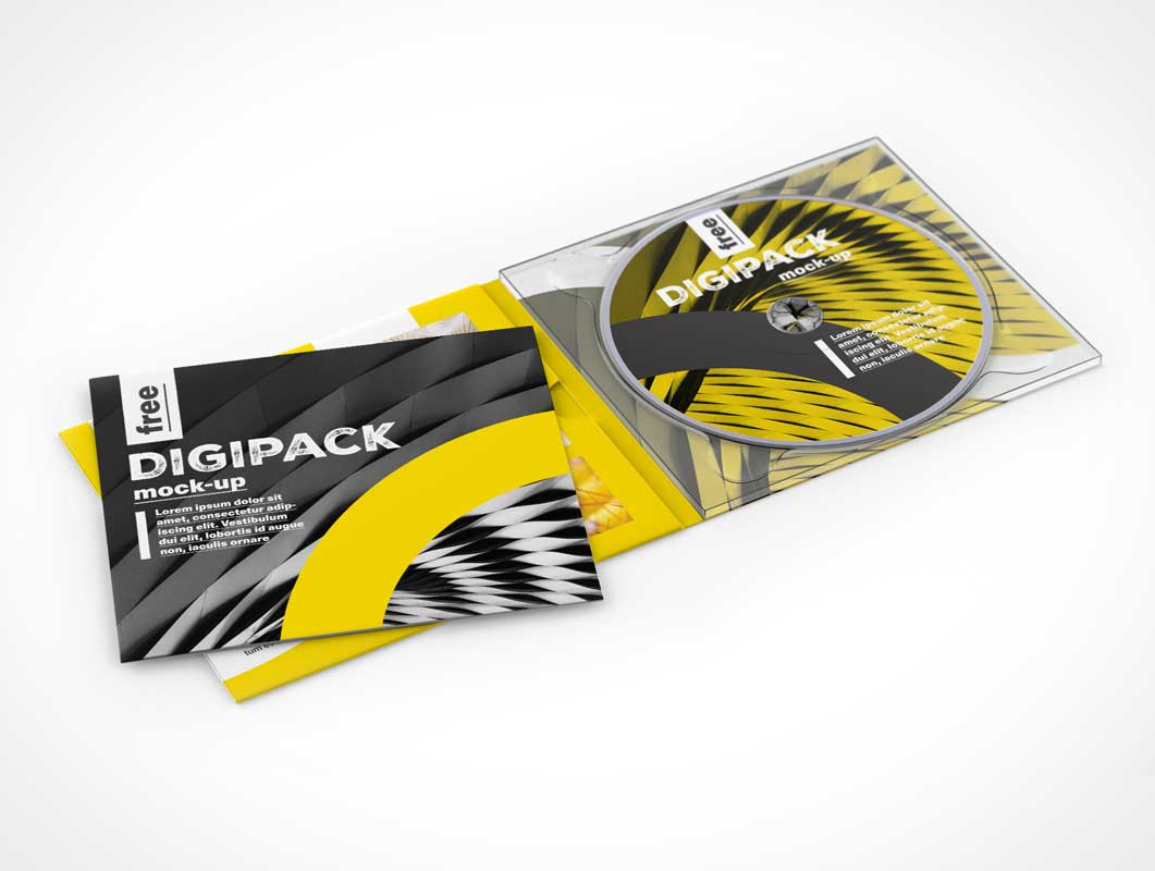 Free digipack PSD Mockup CD DVD Jewel case and Sleeve
