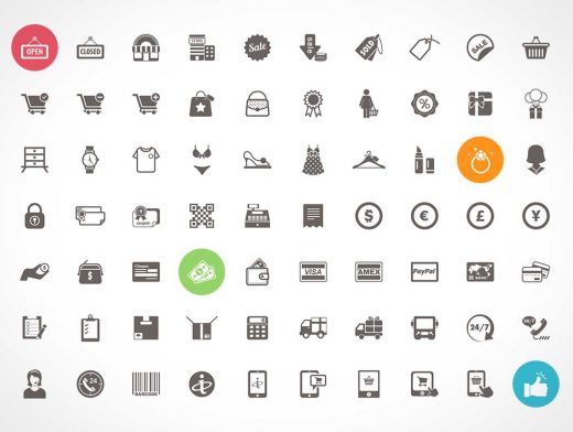 Freebie- 70 Ecommerce and Shopping Icons PSD