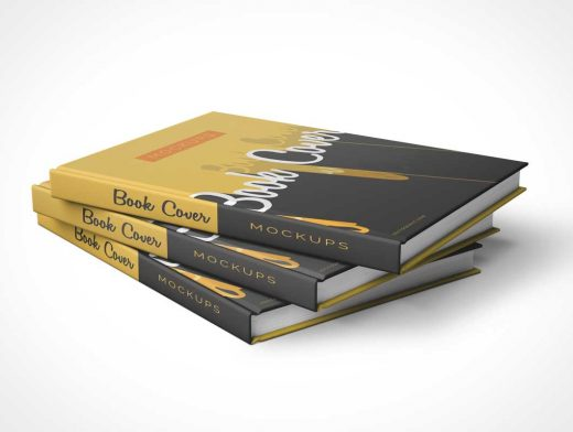 Front Back and Stacked PSD Mockup Hardcover Books