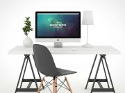Fully White Photo Studio PSD Mockup Workspace With iMac