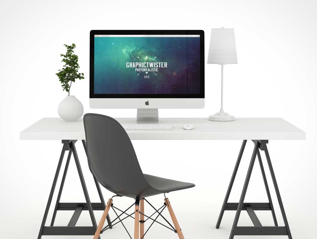 Fully White Photo Studio PSD Mockup Workspace With iMac