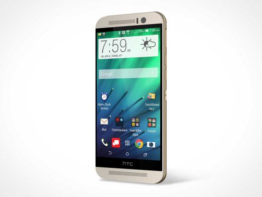 HTC One M8 Android PSD Mockup Rotated Left