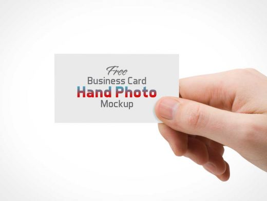 Hand Held Photorealistic Business Card PSD Mockup