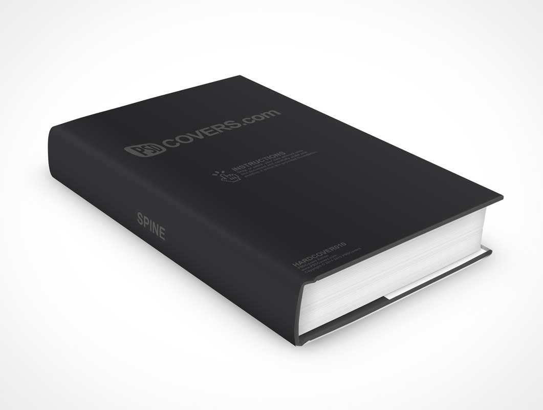Hardcover Book PSD Mockup Laying Flat On Surface