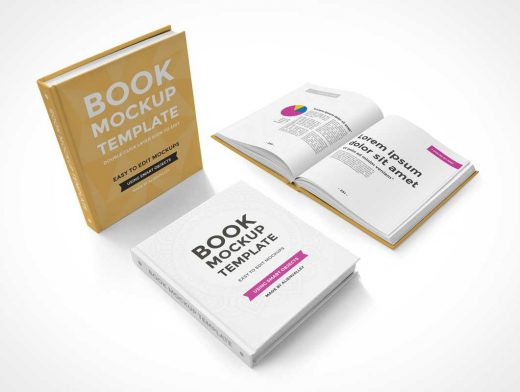 Hardcover Book Release PSD Mockup Composition