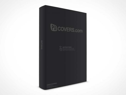 Hardcover PSD Mockup in Portrait Mode Rotated 30 Degrees