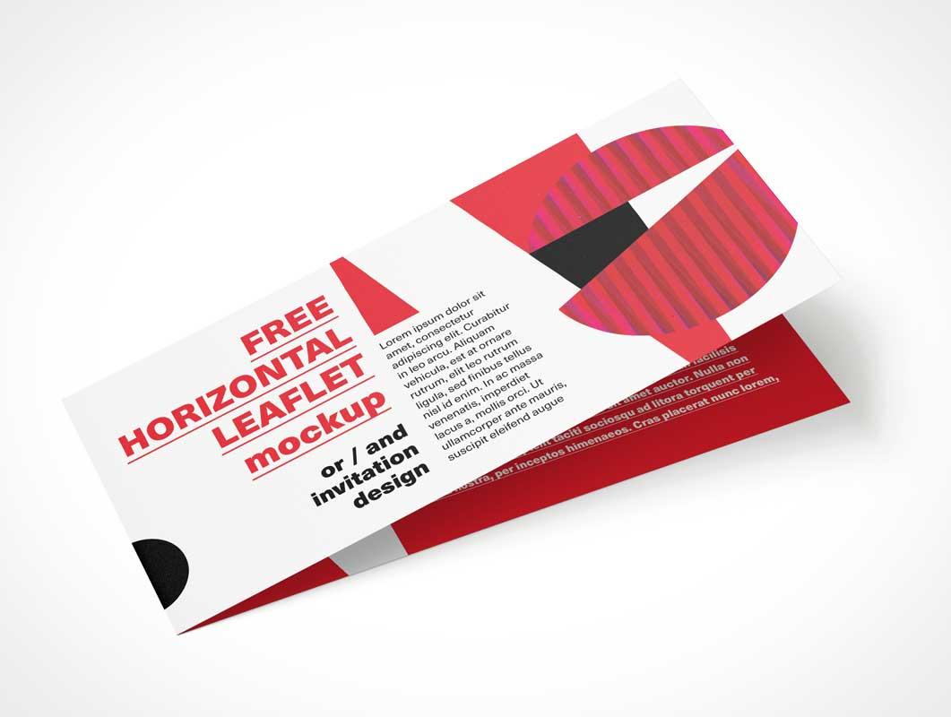 Horizontal Double-Sided PSD Mockup Closed Leaflet