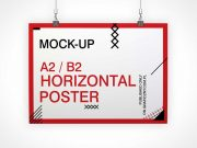 Horizontal Poster PSD Mockup With Binder Clips