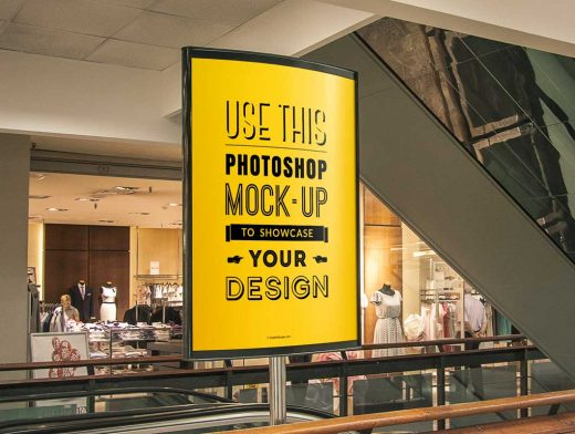 Indoor Poster PSD MockUp Department Store Advertising