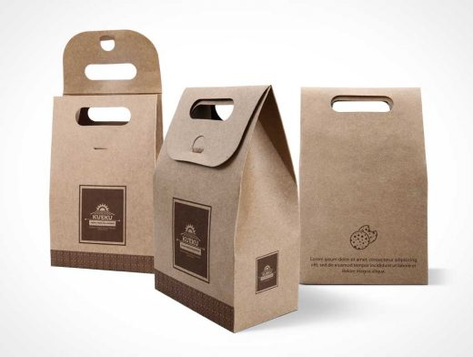 Kraft Paper Bag PSD Mockup For Cake And Cookies