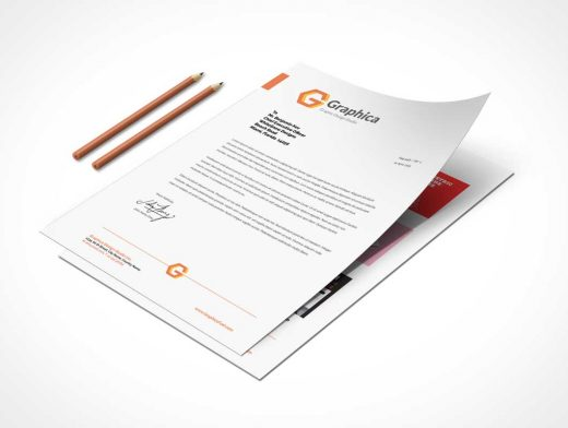 Letterhead And Paper PSD Mockup Portfolio With Pencils