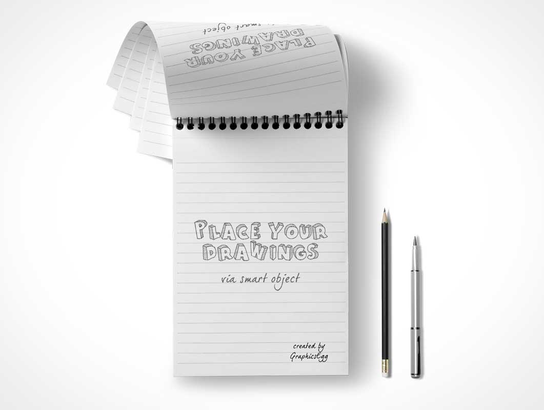 Lined Paper Notepad PSD Mockup