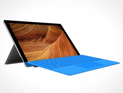 MS Surface 4 Pro Tablet PSD Mockup With Keyboard Cover