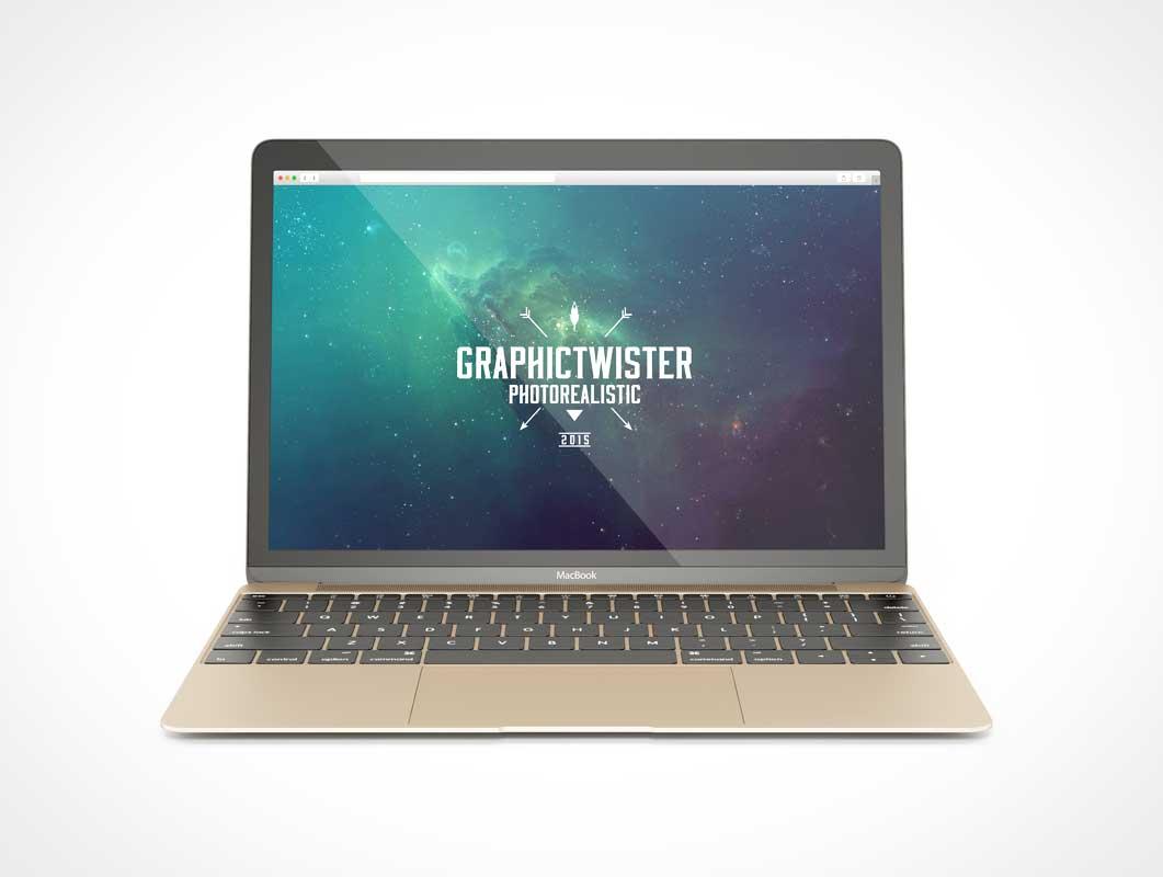 MacBook PSD Mockup Facing Forward