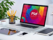 MacBook Pro Desk Scene PSD Mockup With iPad, iPhone and Sketchbook