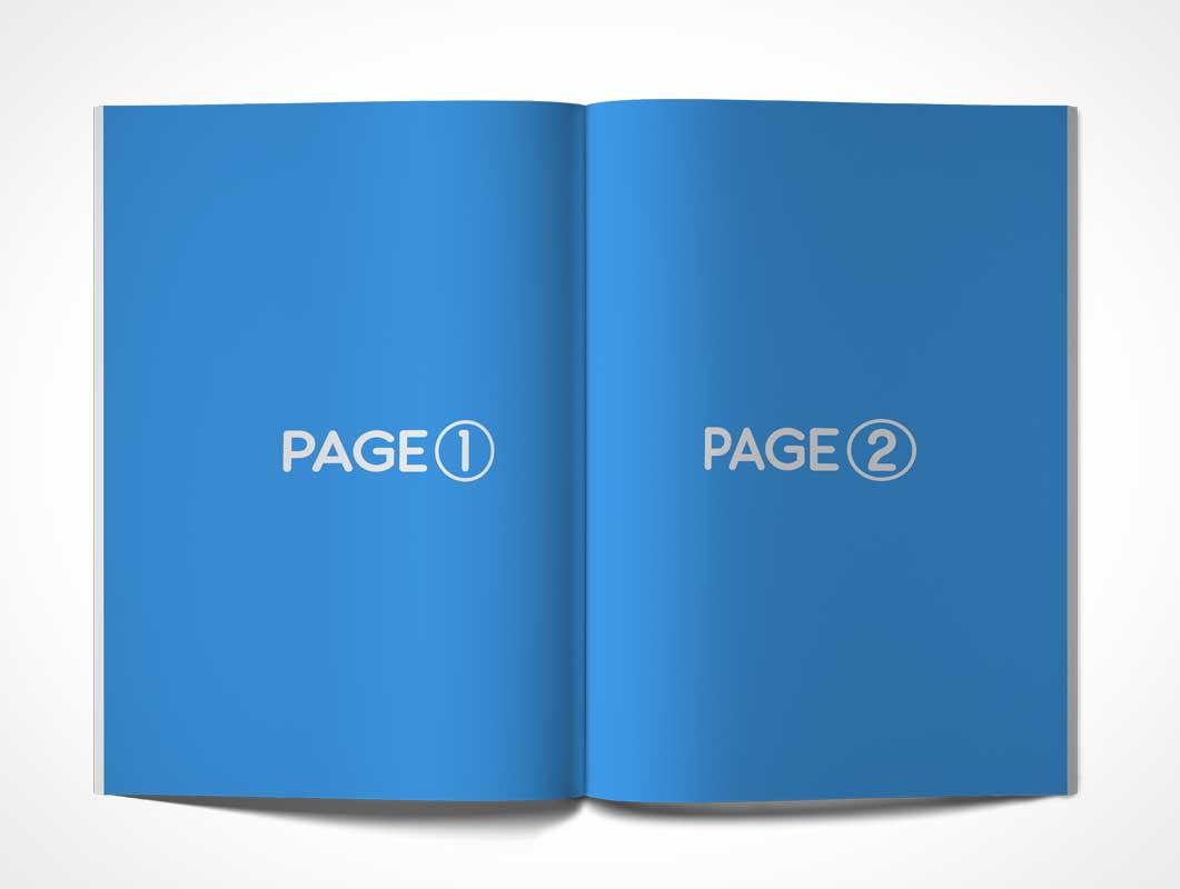 Magazine PSD Mockup Centrefold On Flat Surface