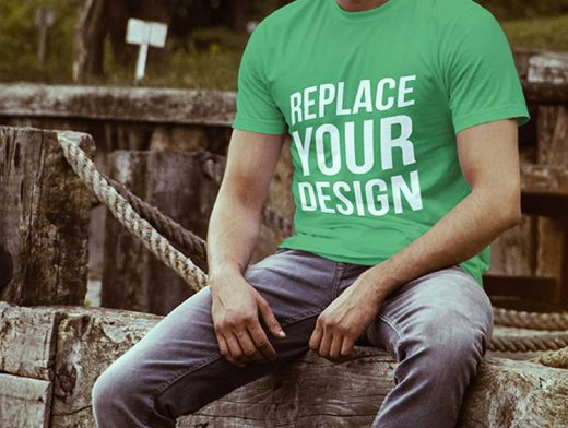 Male Modelling 4 Free T-shirt PSD Mockup Templates