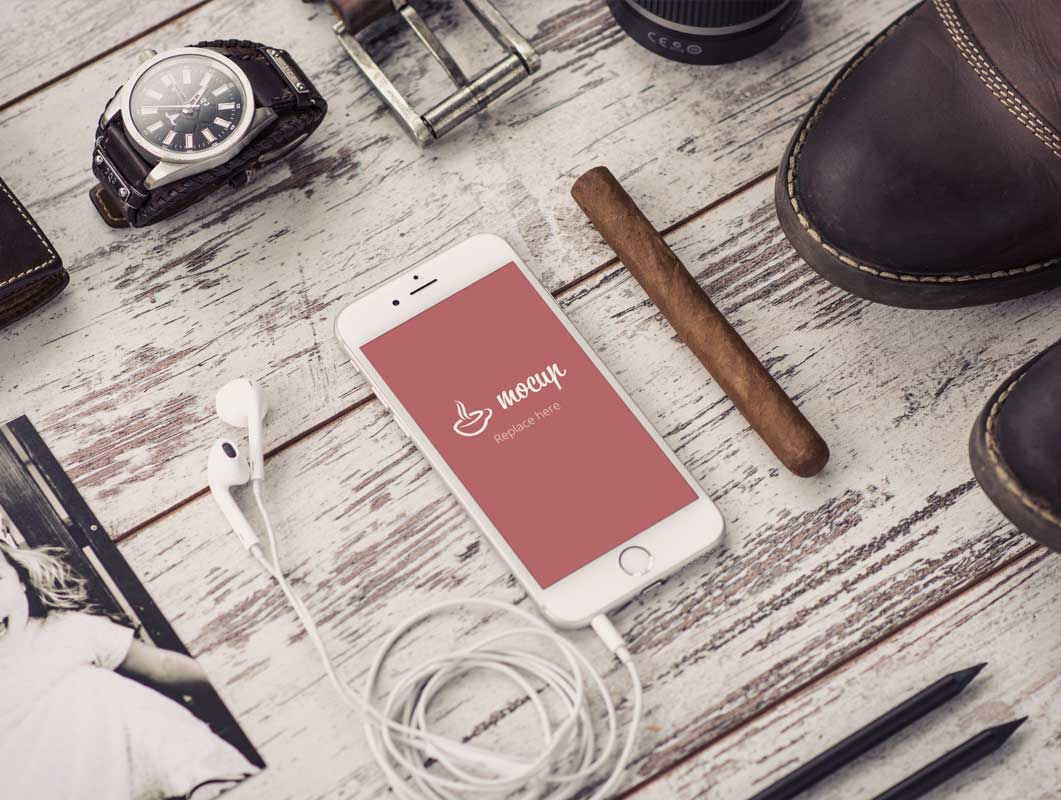 Mens Accessory Clothing PSD Mockup Scene with iPhone and Photo
