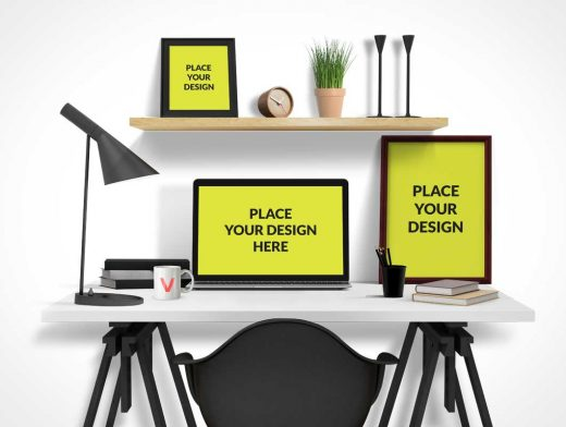 Office Desktop PSD Mockup With Computer Poster and Picture Frame