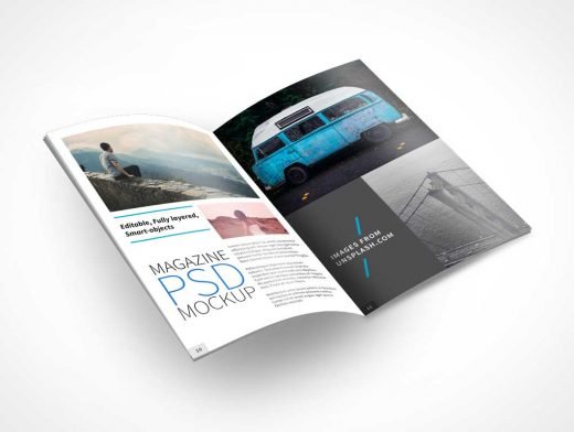 Open Magazine PSD Mockup With Lifted Pages