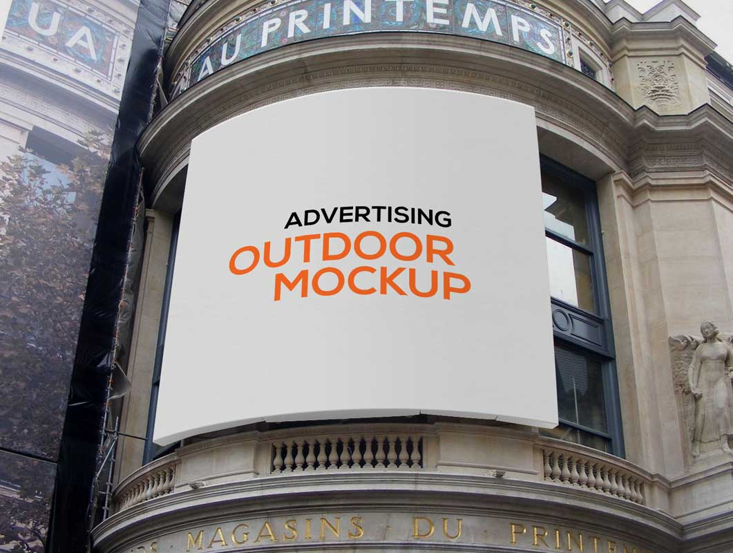 Outdoor Canvas Advertising PSD Mockup