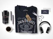 PSD Mockup Scene Creator With T-Shirt Headphones Mug and Scissors