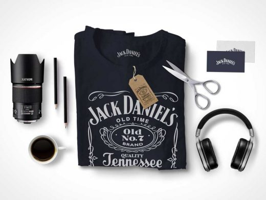 PSD Mockup Scene Creator With T-Shirt Headphones Mug and Scissors