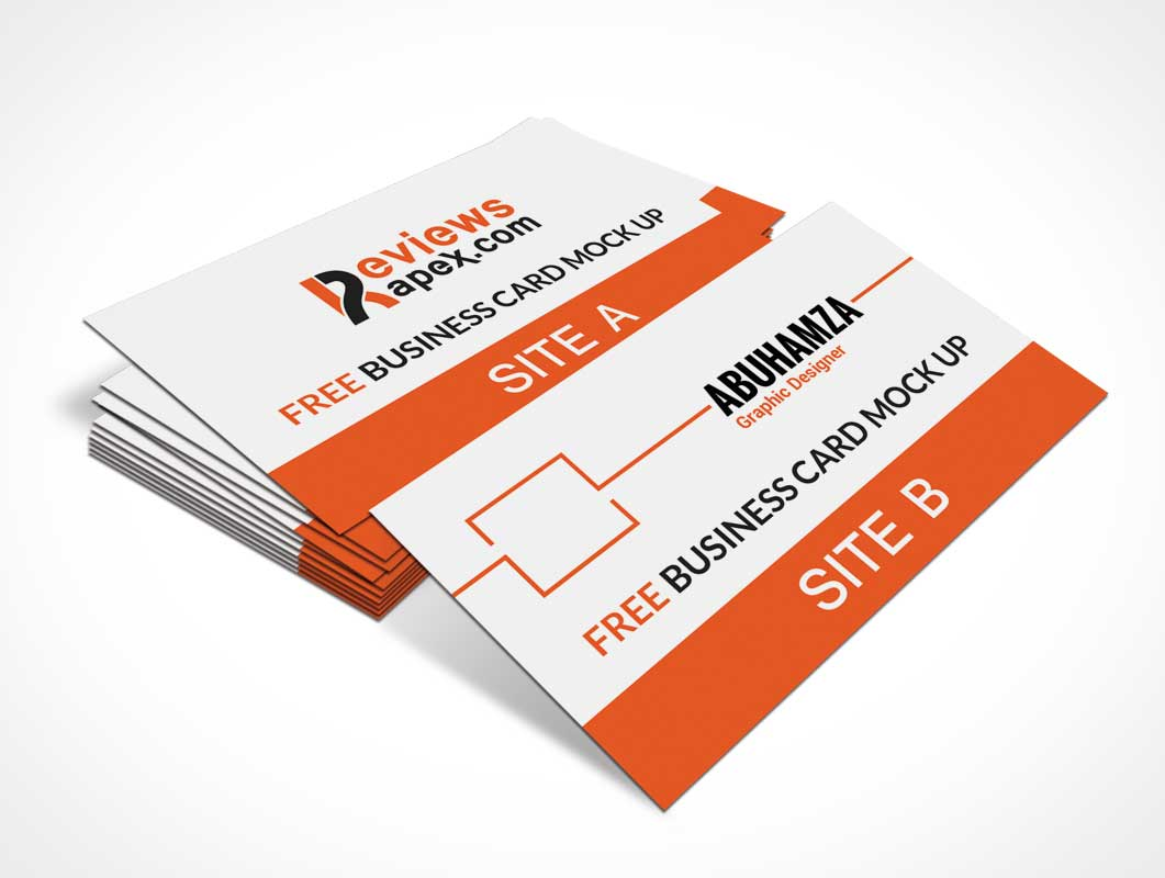 Photo Realistic PSD Mockup Stacked Business Cards