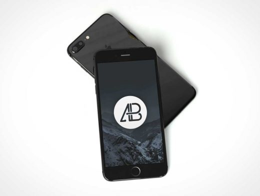 Photorealistic Jet Black iPhone 7 PSD Mockup Scene