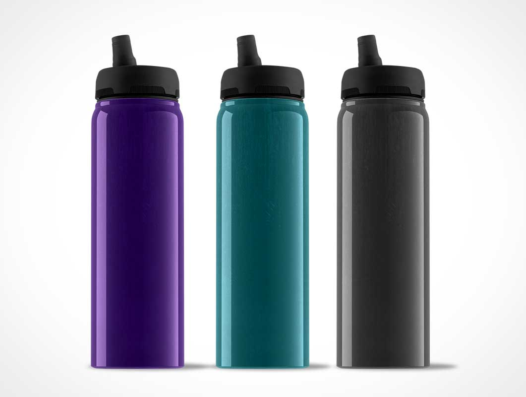 Plastic Standing Water Bottle PSD Mockup With Spout