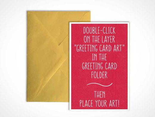 Portrait Greeting Card Envelope PSD Mockup