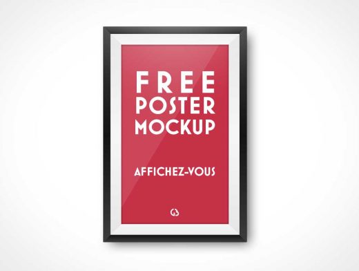 Portrait Mode Poster PSD Mockup With Black Frame